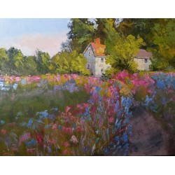 Country Landscape with Flowers